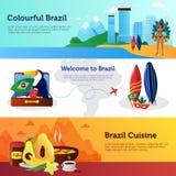 Brazylia podróży Płascy Horyzontalni sztandary Ustawiający Obrazy Stock