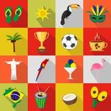 Brazylia Set kreskówki mieszkania ikony Zdjęcia Royalty Free