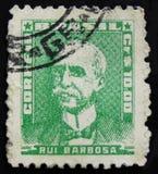 Brazylia znaczek pocztowy pokazuje Ruja Barbosa De Oliveira pisarz, jurysta i polityk, około 1954 zdjęcia royalty free