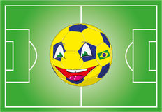 Brazylijczyk flaga barwi piłkę Fotografia Stock