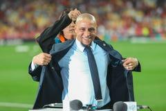 Brazylijczyk przechodzić na emeryturę fachowy futbolista Roberto Carlos zdjęcie royalty free