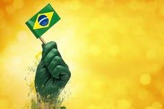 Brazylijczyk wachluje patriota Zdjęcia Stock