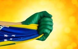 Brazylijczyk wachluje patriota Zdjęcia Royalty Free