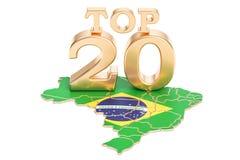 Brazylijczyka wierzchołka 20 pojęcie, 3D rendering Zdjęcie Stock