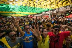 Brazylijscy fan piłki nożnej Świętuje zwycięstwo Fotografia Royalty Free