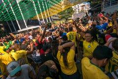 Brazylijscy fan piłki nożnej Świętuje zwycięstwo Obraz Royalty Free