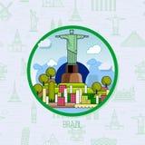 Brazylijscy punkty zwrotni, architektura, na tle flaga ilustracja wektor