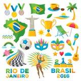 Brazylijscy symbole ustawiająca ikony wektorowa ilustracja Zdjęcie Stock