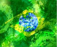 Brazylijska akwareli flaga Akwarela wektoru flaga państowowa Akwareli tło w brazylijczyku barwi pojęcie Obraz Stock