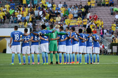 Brazylijska drużyna narodowa. em minuta cisza na cześć Muhamm Obraz Royalty Free