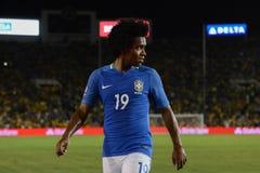 Brazylijska piłka nożna Willian podczas Copa Ameryka Centenario Zdjęcie Stock
