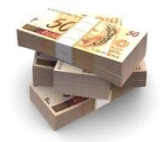 Brazylijska waluty paczka (z ścinek ścieżką) Zdjęcia Stock