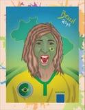 Brazylijski fan piłki nożnej krzyczeć Fotografia Royalty Free