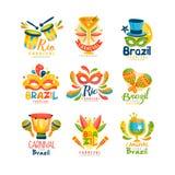 Brazylijski Karnawałowy loga projekta set, jaskrawych świątecznych partyjnych sztandarów wektorowa ilustracja na białym tle Obrazy Royalty Free