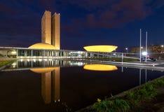 Brazylijski kongres narodowy przy nocą - Brasilia, Distrito Federacyjny, Brazylia obraz stock