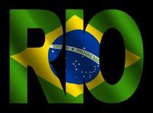 brazylijski Rio bandery tekst Fotografia Stock