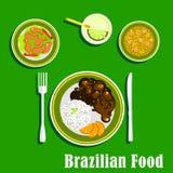 Brazylijskie kuchni ikony z krajowymi naczyniami Zdjęcia Stock