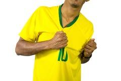 Brazylijskiej fan piłki nożnej wibrująca osoba fotografia royalty free