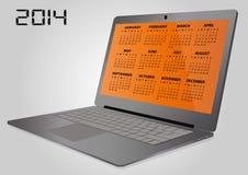 bärbar dator för 2014 kalender Royaltyfria Bilder