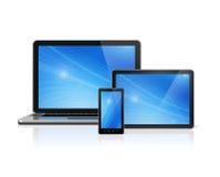 Bärbar dator, mobiltelefon och digital minnestavlaPC Fotografering för Bildbyråer