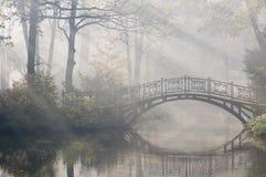Brücke im nebelhaften Morgen Stockfotografie