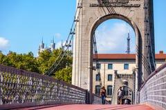 Brücke Old Passerelle du College über der Rhone in Lyon, Franken Stockfoto