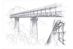 Brückenzeichnung Stockfoto