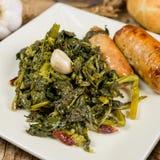 Brócolis e salsichas da massa Fotografia de Stock