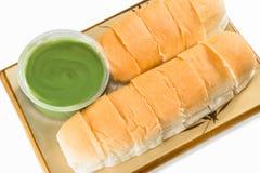 Bröd med vaniljsås  Royaltyfri Foto