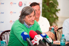 BRD Nastase Tiriac Trophy press conference. BUCHAREST, ROMANIA- APRIL 24: Ilie Nastase, tennis legend of Romania listens to journalists questions during BRD Stock Image