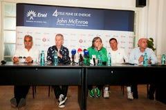 BRD Nastase Tiriac Trophy press conference. BUCHAREST, ROMANIA- APRIL 24: Mansour Bahrami, John McEnroe, Ilie Nastase, Andrei Pavel, tennis legends,speak to the Stock Images