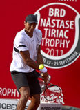 BRD Open : Joao SOUZA (BRA) vs Tommy ROBREDO (ESP). Joao SOUZA (BRA) hits a backhand in the tennis match against Tommy ROBREDO (ESP) at BRD Nastase Tiriac Trophy Stock Photography