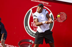 BRD Open : Joao SOUZA (BRA) vs Tommy ROBREDO (ESP). Joao SOUZA (BRA) hits a backhand in the tennis match against Tommy ROBREDO (ESP) at BRD Nastase Tiriac Trophy Stock Photos