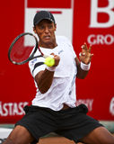 BRD Open : Joao SOUZA (BRA) vs Tommy ROBREDO (ESP). Joao SOUZA (BRA) hits a forehand in the tennis match against Tommy ROBREDO (ESP) at BRD Nastase Tiriac Trophy stock photo