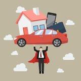 Börda för skuld för affärsmansuperhero bärande Arkivbilder