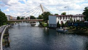 Brda river in Bydgoszcz. From local bridge Royalty Free Stock Images