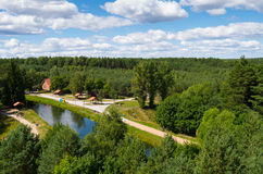 Brda river in Fojutowo, Poland. Aerial view from tower in Fojutowo Royalty Free Stock Photo
