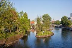 Brdarivier met Eilandje in Bydgoszcz Royalty-vrije Stock Foto's