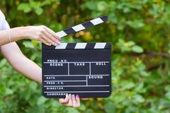 Bräde för filmproduktionclapper Arkivbilder