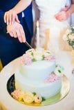 Brdie y las manos del novio acercan al pastel de bodas Imágenes de archivo libres de regalías