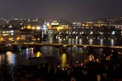 Bridges over Vltava river by night in Prague Stock Photography