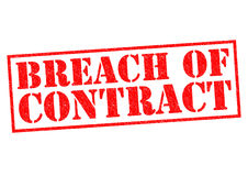BREACH OF CONTRACT. Red Rubber Stamp over a white background Royalty Free Stock Photos