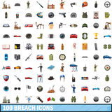 100 breach icons set, cartoon style Stock Photo