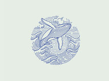 Breaching humpback whale logo. Icon.  illustration Stock Images