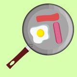 Breackfast用鸡蛋和sousage 图库摄影