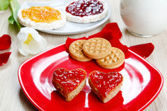 Breackfast with love and red hearths of jam Royalty Free Stock Photography