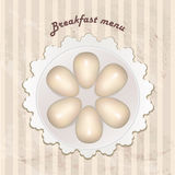 Breackfast menu  in retro style over striped seamless pattern. Royalty Free Stock Photo