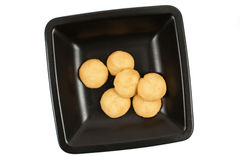 Breackfast rice cookies on a black dish Royalty Free Stock Photography