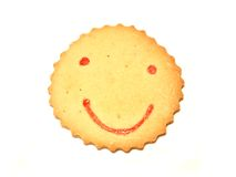 Bread 01. Smiling sun shaped cookie over white background Stock Photo