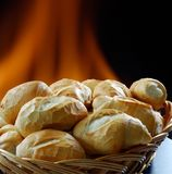 Bread. Baked in the oven with a wood fire to the bottom Stock Photography